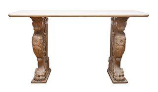 Renaissance Revival Travertine, Terracotta Console