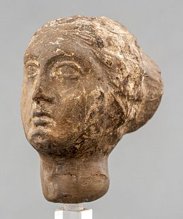 Ancient Greco-Roman Carved Stone Bust Of A Woman