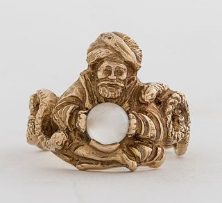 10K Yellow Gold Carved Genie & Moon Stone Ring