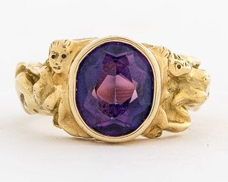 Vintage 18K Yellow Gold Color Change Sapphire Ring