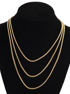 14K Yellow Gold Long Square Wheat Chain Necklace