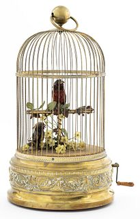 French Singing Bird In Gilt Cage Automaton