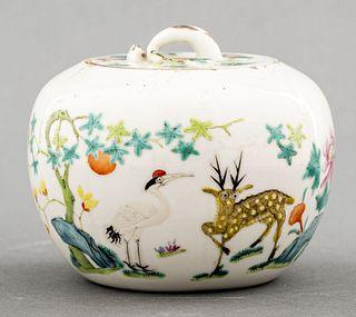 Chinese Export Ceramic Lidded Tea Jar