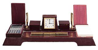 Asprey Leather Desk Set With Clock