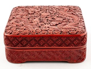 Chinese Carved Cinnabar Lacquer Box w Dragons