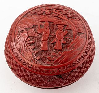 Chinese Carved Cinnabar Lacquer Covered Box