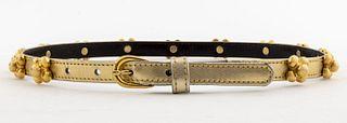 Yves Saint Laurent Gold Leather Belt