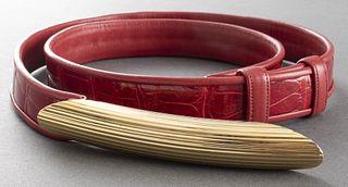 Judith Leiber Red Alligator Belt