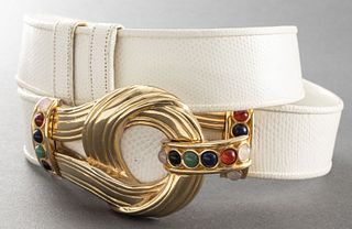 Judith Leiber White Lizard Belt