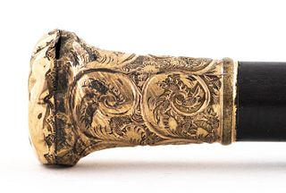 Victorian Gold-Tone Metal Milord Handle Cane