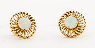 14K Yellow Gold Round Opal Open Lattice Earrings