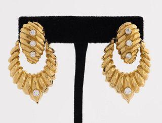 18K Yellow Gold Diamond Doorknocker Clip Earrings