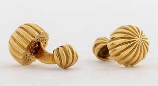 ALD 18K Yellow Gold Striated Dome Shaped Cufflinks