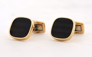 Vintage West German 18K Yellow Gold Onyx Cufflinks
