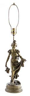 Delavigne French Bronze Figural Table Lamp