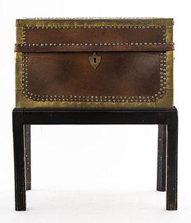 English Georgian Leather Trunk On Stand
