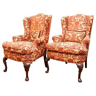 English Upholstered Wing Back Armchairs, Pair