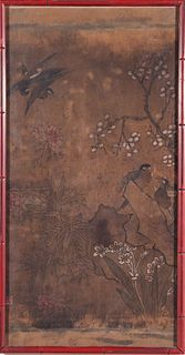 Chinese Bird-and-Flower Watercolor on Silk, 19th C