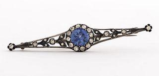 Edwardian 14K Diamond & Synthetic Sapphire Bar Pin