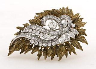 Vintage Platinum & 18K Diamond Detachable Brooch