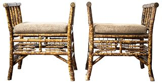 Aesthetic Movement Style Bamboo Benches, Pair