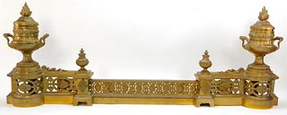 Neoclassical Brass Fireplace Chenets & Fender