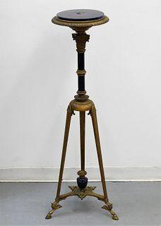 Regency Brass & Cobalt Porcelain Pedestal