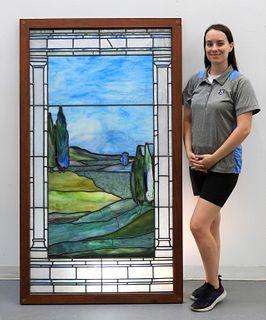 LG Prairie School Stain Glass Window