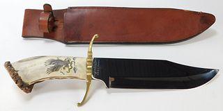 Originals by Pierce Carved Antler Hunting Knife