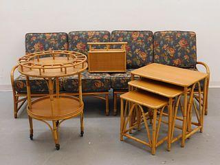 7PC Rattan Bamboo Living Room Set