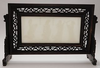 Chinese Carved Hardstone Table Screen