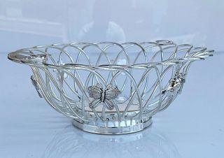 Silver Tone Basket W/ Ladybugs/Butterflies/Dragonfly