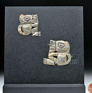 Pair Sican Copper-Silver Textile Appliques - Jaguars