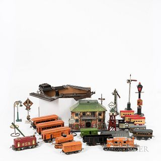Group of Tinplate Trains and Accessories
