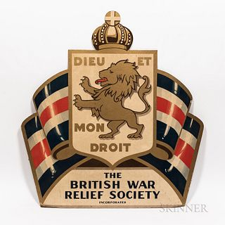 Painted British War Relief Society Sign