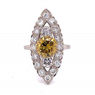 1.65 Ct Fancy Yellow Diamond Ring