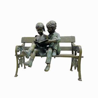 Patina Bronze Children on a Bench Sculpture