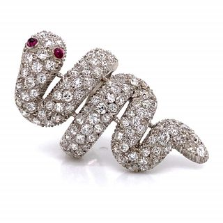 9.50 Ct. Diamond And Ruby Snake Ring