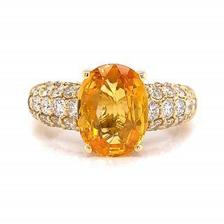 3.04 Orange Sapphire And Diamond Ring