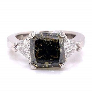 3.40 Ct. Fancy Green Brown Diamond Ring