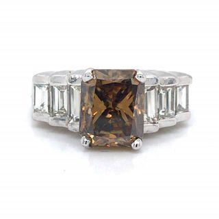 2.69 Ct Champagne Diamond Engagement Ring