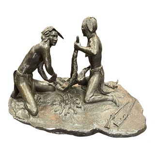 Large Frederic Remington Indian Bronze Group