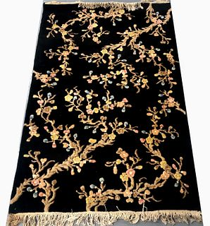 Chinese Art Deco Floral Rug, 4 x 6