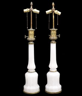 Pr. French Opaline Table Lamps