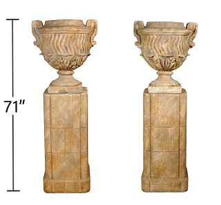 Pr. Michael Taylor Latch Urns & Miller Pedestals