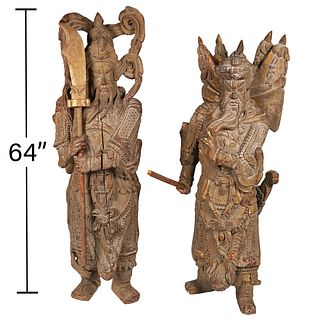 Two 18/19th C Large Carved Wood Chinese Warriors