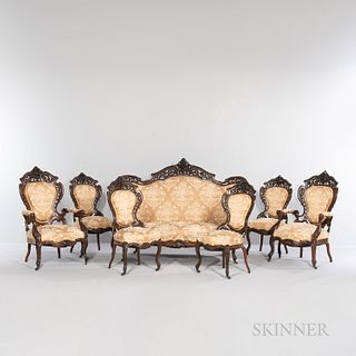 Seven-piece Suite of J. & J.W. Meeks Stanton Hall Pattern Rosewood Seating, New York, c. 1860, featuring an arched floral carved crest,