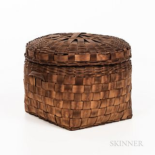 Splint Basket, circular top and square form base with loop handles, ht. 10 1/4, dia. 12 1/2 in. Provenance: Townshend Collection.