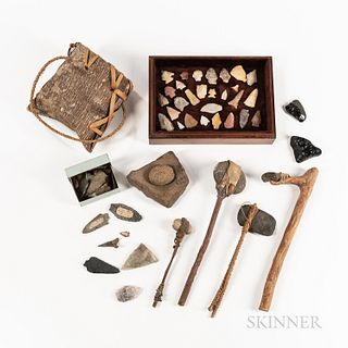 Native American Tool Group, including four handcrafted tools, stone mortar and pestle, bark basket, and assorted arrowheads. Provenance