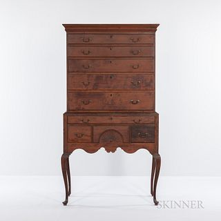 American Queen Anne Cherrywood Flat-top Highboy, Connecticut, c. 1760, upper section with five drawers, lower section with four drawers